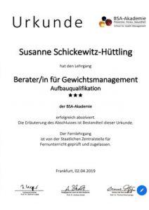 Urkunde BSA Akademie Gewichtsmanagement